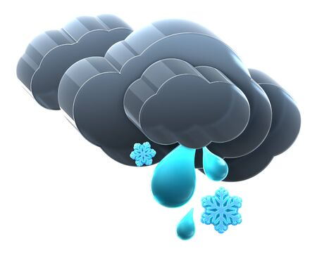 Heavy cloud with rain and snow. Hi-res 3D rendered icon Stock Photo - 8308905