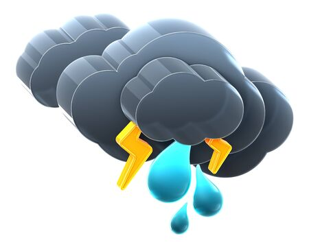 heavy: Heavy cloud with thunder rain. Hi-res 3D rendered icon  Stock Photo