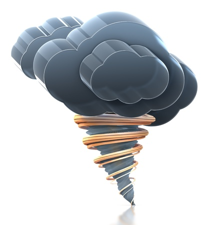 Heavy cloud and tornado. Hi-res 3D rendered icon
