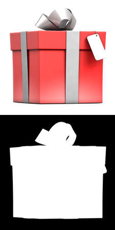 Wrapped red gift box with empty cardboard.  Stock Photo