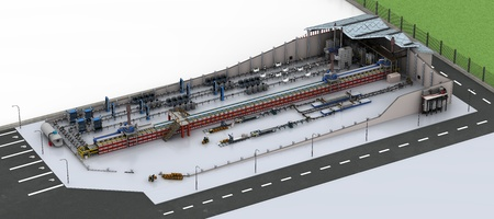 Production line section. Isometric high resolution 3D rendered image. 스톡 콘텐츠