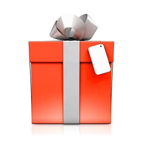 shadow box: Red gift box with silver ribbon. High resolution 3D illustration with clipping paths.  Stock Photo