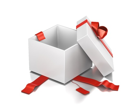 Wit cadeau doos met rood lint. Hoge resolutie 3D illustratie met het knippen van wegen.