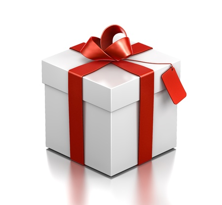 White gift box with red ribbon. High resolution 3D illustration with clipping paths.  Stock Illustration - 11513727