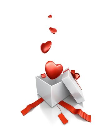 White gift box with heart. High resolution 3D illustration with clipping paths. Stock Photo