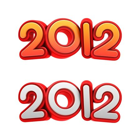 New year 2012. High resolution 3D text with clipping path.  Stock Photo