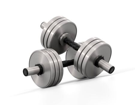 Dumbbell. High resolution 3D rendering with clipping paths.