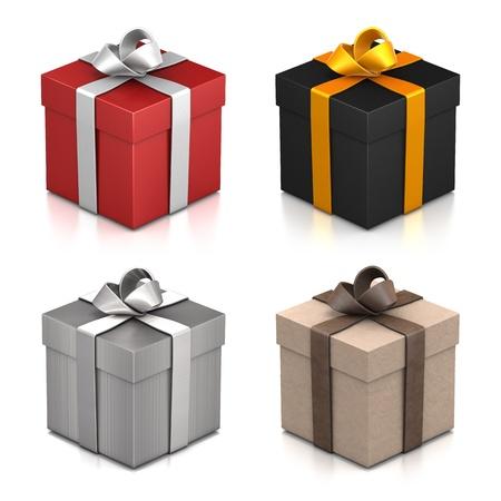 cajas navide�as: Conjunto de cajas de regalo. Alta resoluci�n ilustraci�n 3D con trazados de recorte. Foto de archivo