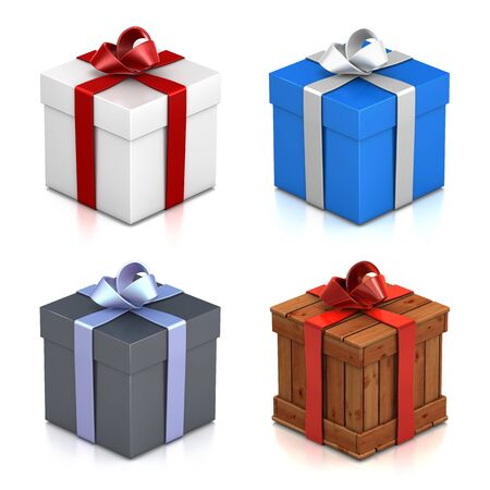 Set of gift boxes. High resolution 3D illustration with clipping paths.  Stock Photo
