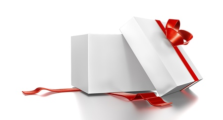 red gift box: White gift box with red ribbon. High resolution 3D illustration with clipping paths.
