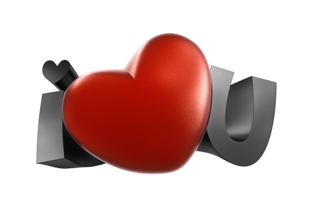 I love you. High resolution 3D illustration with clipping paths.