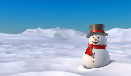 Cute snowman in snowy mountain landscape. High resolution 3D illustration with clipping paths.