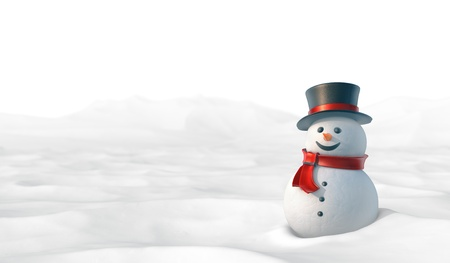 carrot nose: Cute snowman in snowy mountain landscape. High resolution 3D illustration with clipping paths.