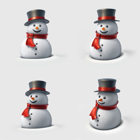 Cute snowman. High resolution 3D illustration with clipping paths.