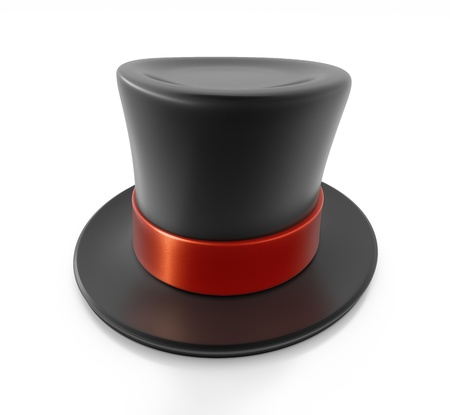 black hat: Black top hat with red strip. High resolution 3D illustration with clipping paths.