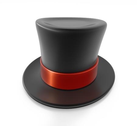 tophat: Nero cappello a cilindro con la striscia rossa. Illustrazione ad alta risoluzione 3D con tracciati di ritaglio.