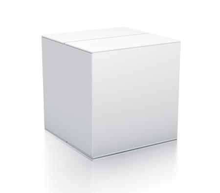 Witte doos. Hoge resolutie 3D illustratie Stockfoto