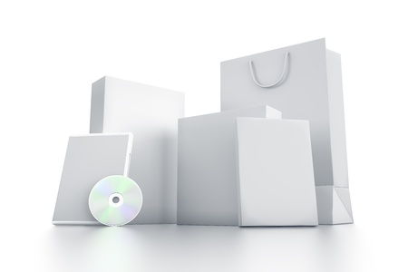 Various white boxes. High resolution 3D illustration