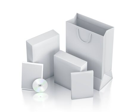 Various white boxes. High resolution 3D illustration  illustration