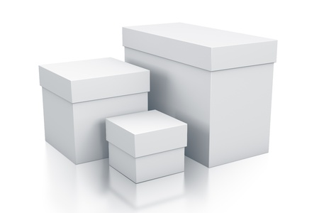 Various white boxes. High resolution 3D illustration with clipping paths.