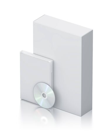 bluray: White package with CD - DVD  High resolution 3D illustration