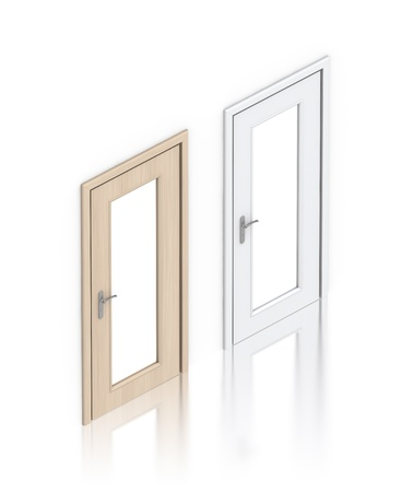 Wooden painted doors. High resolution 3D illustration  Stock Photo