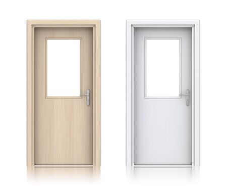empty keyhole: Wooden painted doors. High resolution 3D illustration  Stock Photo