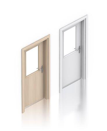 Wooden painted doors. High resolution 3D illustration  Stock fotó