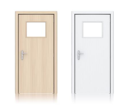 Wooden light and white painted doors. High resolution 3D illustration