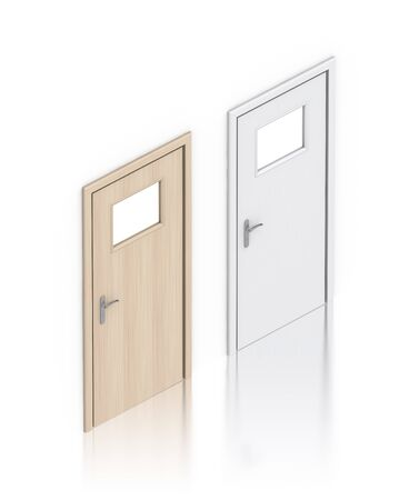 Wooden painted doors. High resolution 3D illustration  illustration