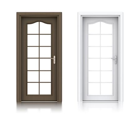 empty keyhole: Wooden dark and white painted doors. High resolution 3D illustration  Stock Photo