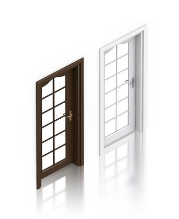 Wooden dark and white painted doors. High resolution 3D illustration