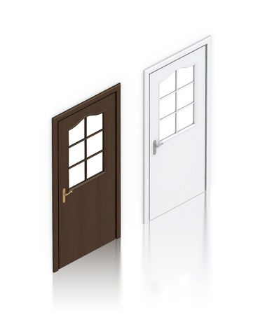Wooden dark and white painted doors. High resolution 3D illustration  Stock fotó