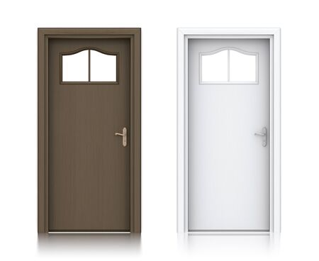Wooden dark and white painted doors. High resolution 3D illustration  Stock Photo