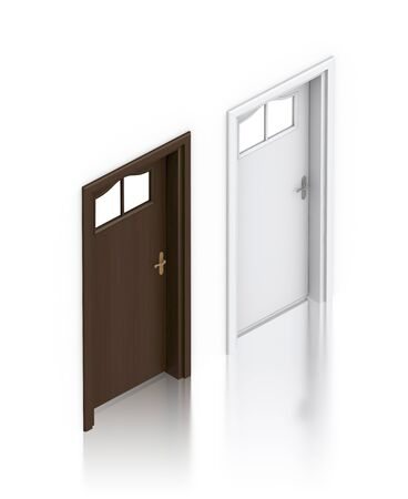 Wooden dark and white painted doors. High resolution 3D illustration Stock Illustration - 13049991