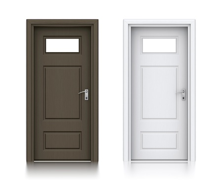 empty keyhole: Wooden dark and white painted doors. High resolution 3D illustration with clipping paths.