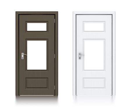 Wooden dark and white painted doors. High resolution 3D illustration  Banco de Imagens