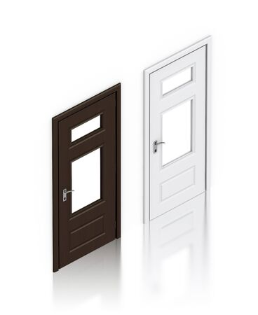 Wooden dark and white painted doors. High resolution 3D illustration  illustration