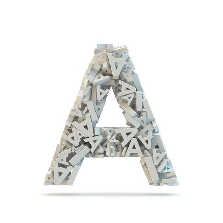 White uppercase letter A isolated on white. Part of high resolution graphical alphabet set.