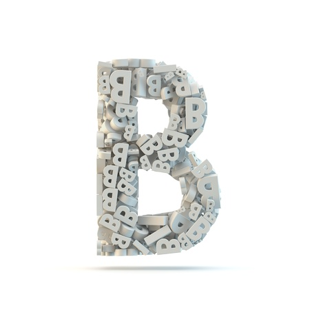 small group of objects: White uppercase letter B isolated on white. Part of high resolution graphical alphabet set.