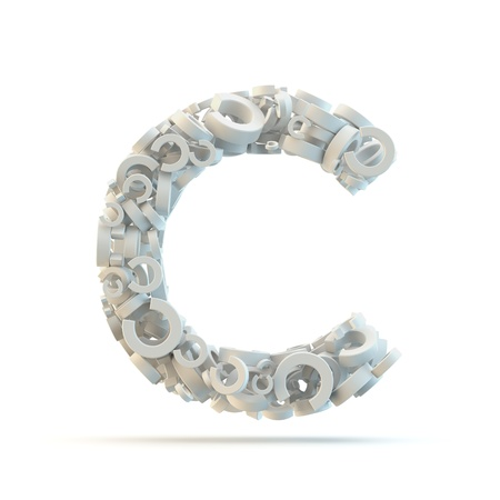 White uppercase letter C isolated on white. Part of high resolution graphical alphabet set.