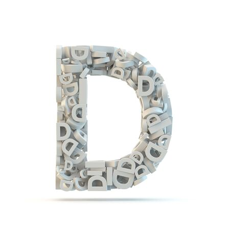 letter case: White uppercase letter D isolated on white. Part of high resolution graphical alphabet set. Stock Photo