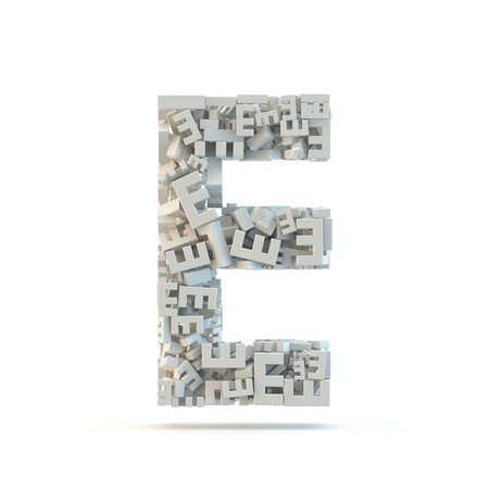 small group of objects: White uppercase letter E isolated on white. Part of high resolution graphical alphabet set.