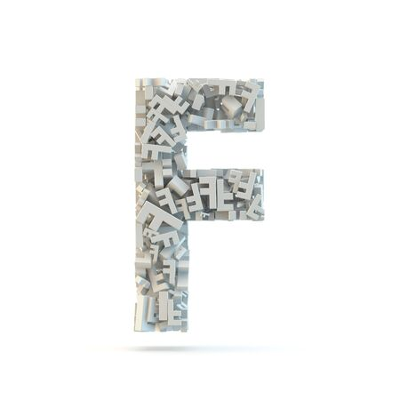 White uppercase letter F isolated on white. Part of high resolution graphical alphabet set.