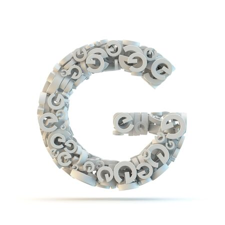 small group of objects: White uppercase letter G isolated on white. Part of high resolution graphical alphabet set. Stock Photo