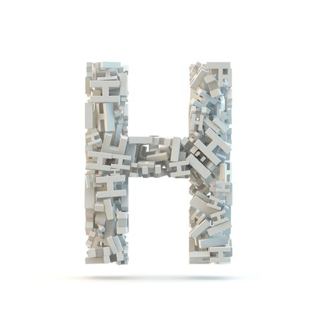 small group of objects: White uppercase letter H isolated on white. Part of high resolution graphical alphabet set. Stock Photo