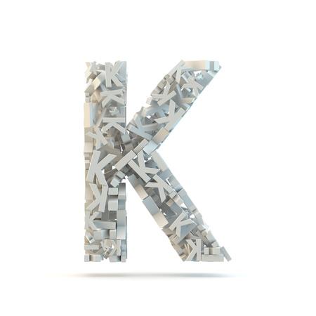 White uppercase letter K isolated on white. Part of high resolution graphical alphabet set.