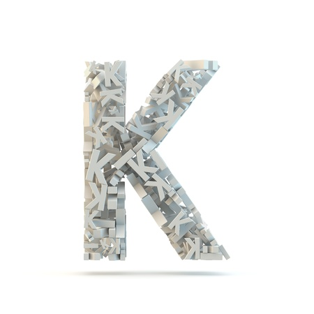 small group of objects: White uppercase letter K isolated on white. Part of high resolution graphical alphabet set.