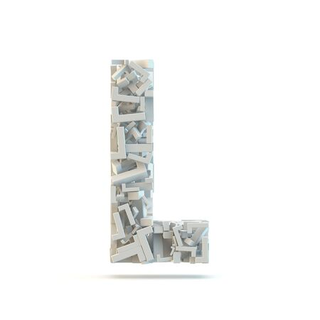 small group of objects: White uppercase letter L isolated on white. Part of high resolution graphical alphabet set.