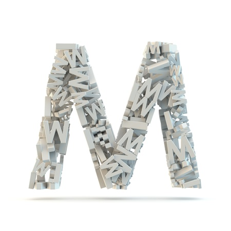 White uppercase letter M isolated on white. Part of high resolution graphical alphabet set.